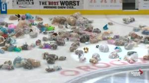 Edmonton Oil Kings teddy bear toss in support of Santas Anonymous