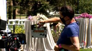 Hit hard by COVID-19, popular Calgary wedding venue hosts movie wedding scene (01:57)