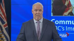 Premier Horgan says province considering paid time off for workers to get COVID-19 vaccine (01:10)