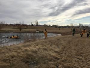 Police, EMS urge ice safety after child falls through Lethbridge lake (01:36)