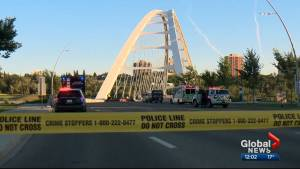 1 person killed in fiery crash on Edmonton's Walterdale Bridge