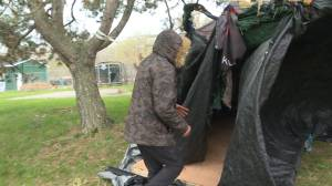 Homeless camp forms in Kingston's Belle Park