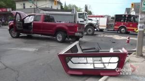 Dump truck and pickup collide in Peterborough (00:46)