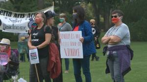 Basic income rally held at Alberta legislature grounds amid looming CERB deadline