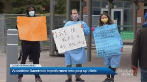 Pop-up vaccination clinic opens at Woodbine Racetrack for hotspot postal codes in Rexdale (02:54)
