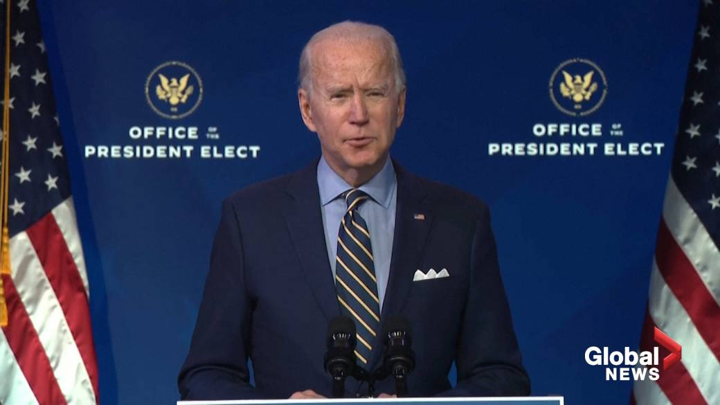 Click to play video 'Biden accuses Trump admin of laying 'roadblocks' for his White House transition team'