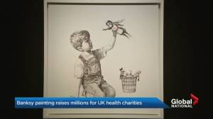 Banksy painting raises millions for U.K. health charities (00:24)