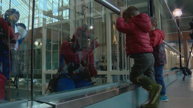Superheroes hang out with kids at Chinook Regional Hospital in Lethbridge