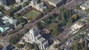 Aerial view of climate strike march from Vancouver City Hall