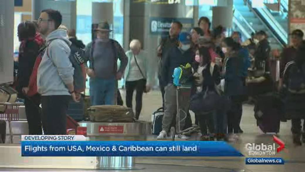 Click to play video: 'Edmonton won't receive international flights starting Wednesday'