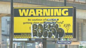 Vancouver police commissioned billboard vandalized (00:23)