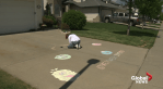 Edmonton teen sharing  chalk art in neighbourhood