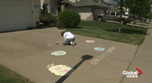 Edmonton teen sharing  chalk art in neighbourhood