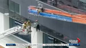 Worker rescued from suspended scaffolding outside Edmonton's Stantec Tower