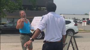 'You're not a Canadian': Racist tirade caught on video outside Kelowna vaccination clinic (02:21)
