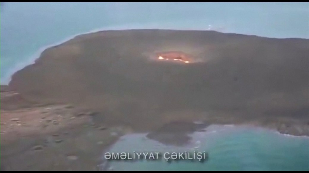Click to play video: 'Mud volcano causes explosion on island in Caspian Sea'