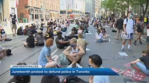 Anti-Black racism protest in Toronto calls to defund the police on Juneteenth