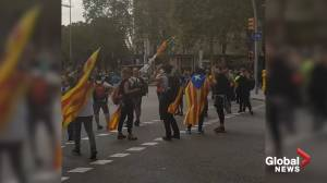 Demonstrators wave Catalonia flags in crowded Barcelona