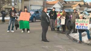 Protest held in Fort Saskatchewan after man charged in death of infant son granted bail