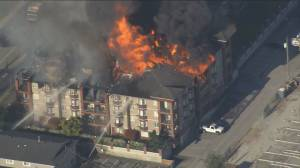 Langley firefighters respond to massive condo fire Friday night