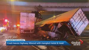 Crash shuts down portion of Highway 401 near Allen Road for 14 hours (01:42)