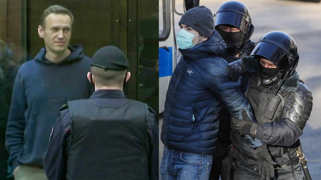 Click to play video: 'Navalny handed 3.5-year jail sentence as police detain supporters outside Moscow court'