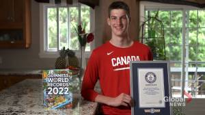 Montrealer Olivier Rioux breaks record, wins title for world's tallest teenager (02:35)