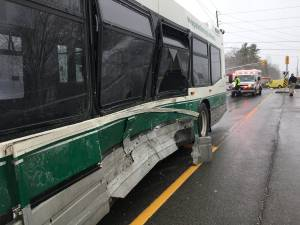 Van collides with Peterborough Transit bus in city's west end (00:29)