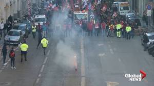 Union Workers march, block port in Marseille to protest pension reform