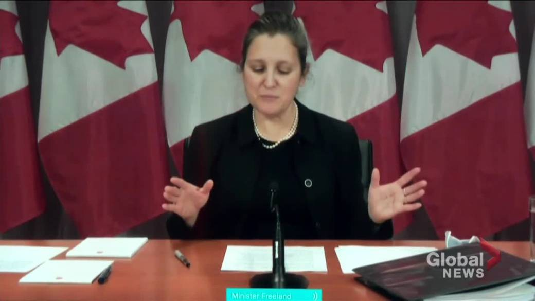 Click to play video 'Freeland says consultations launched to help rebuild Canada's economy post-COVID-19'