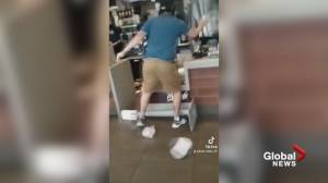 B.C. man arrested after violent outburst captured on camera at Richmond McDonald's (00:58)