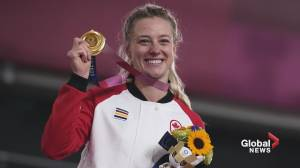 Sherwood Park's Kelsey Mitchell wins Olympic gold (01:27)