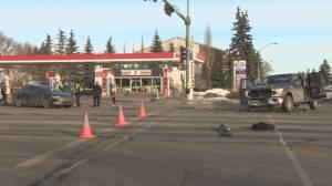 Edmonton police investigate Whyte Avenue collision involving stolen vehicle