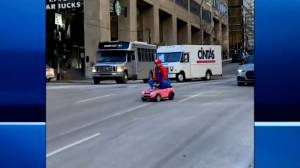 'Action man' goes viral doing tricks in downtown Montreal (02:05)