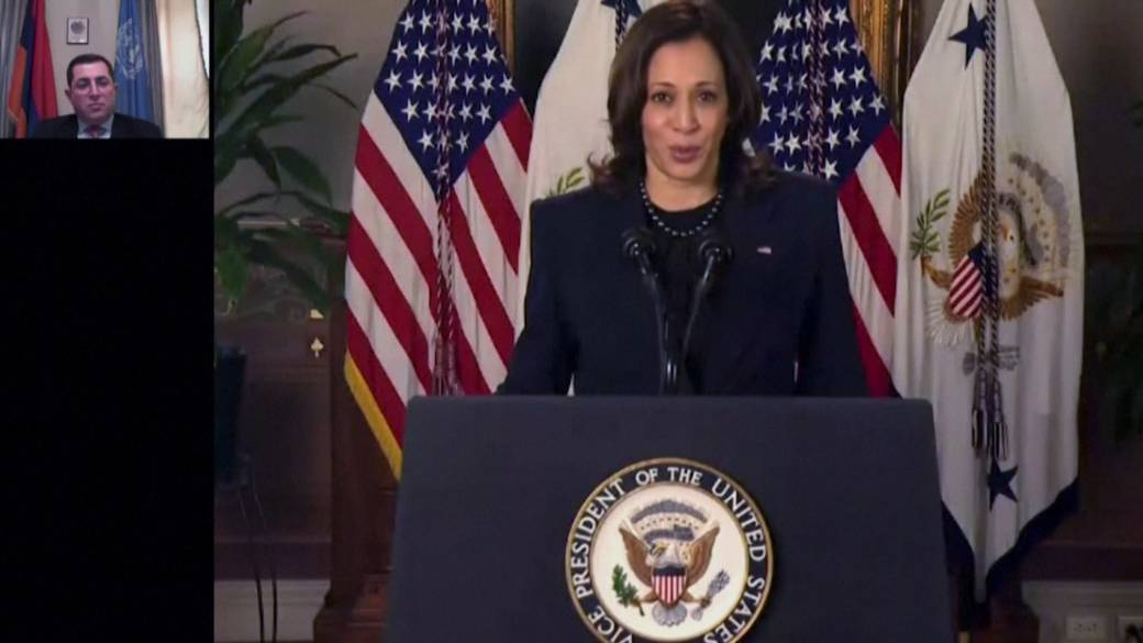 Click to play video: 'Kamala Harris pledges to fight for women, democracy at U.N. debut'