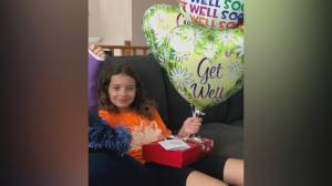 B.C. girl's 'Get Well' balloons take flight to Alberta (01:51)
