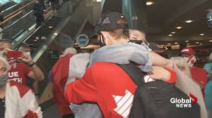 Bronze-medal race walker Evan Dunfee welcomed home by family and friends in Vancouver (01:19)