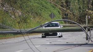Family trapped in car in Maple Ridge under downed power lines