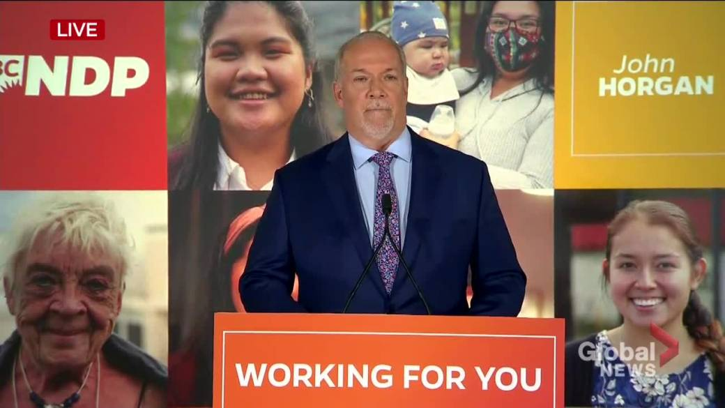 Click to play video 'B.C. election 2020: Horgan expresses gratitude after projected win, talks dealing with coronavirus'