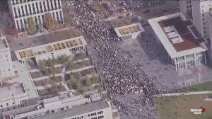 Aerial footage of the climate rally in downtown Edmonton over the noon hour