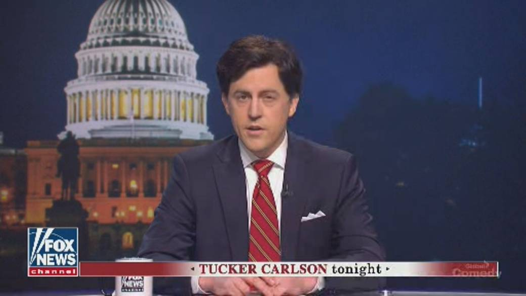 Click to play video: ''SNL' spoofs Trump impeachment verdict with mock Tucker Carlson broadcast'