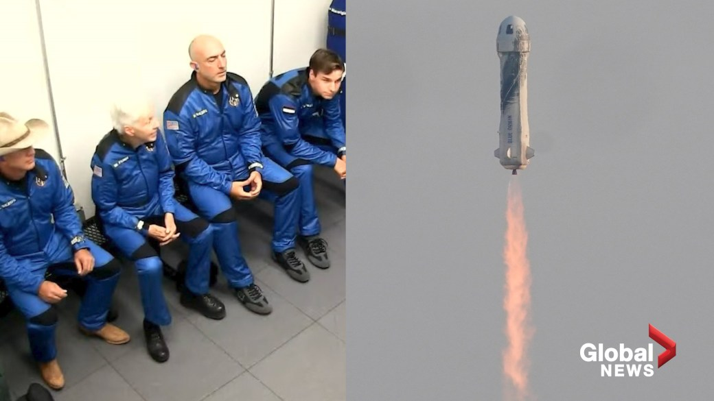 Click to play video: 'Jeff Bezos launches into orbit as his Blue Origin spacecraft completes 1st crewed mission'