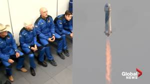 Jeff Bezos launches into orbit as his Blue Origin spacecraft completes 1st crewed mission (05:21)