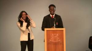 London student charms Meghan Markle during school visit (02:03)