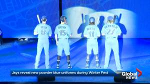 Jays unveil 'throwback' uniforms in powder blue during 3rd annual Winter Fest (02:04)