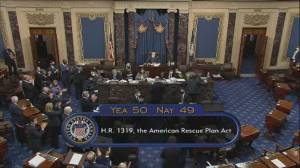 Senate passes Biden's $1.9T COVID-19 bill on party-line vote (00:39)