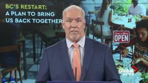 B.C. premier on pace of province's COVID-19 restart plan (02:21)
