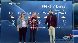 Guests from Kids With Cancer Society help present Edmonton weather forecast