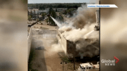Play video: Fire crews battle blaze in downtown Red Deer