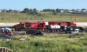 Train collision in Moose Jaw CP rail yard causes fire
